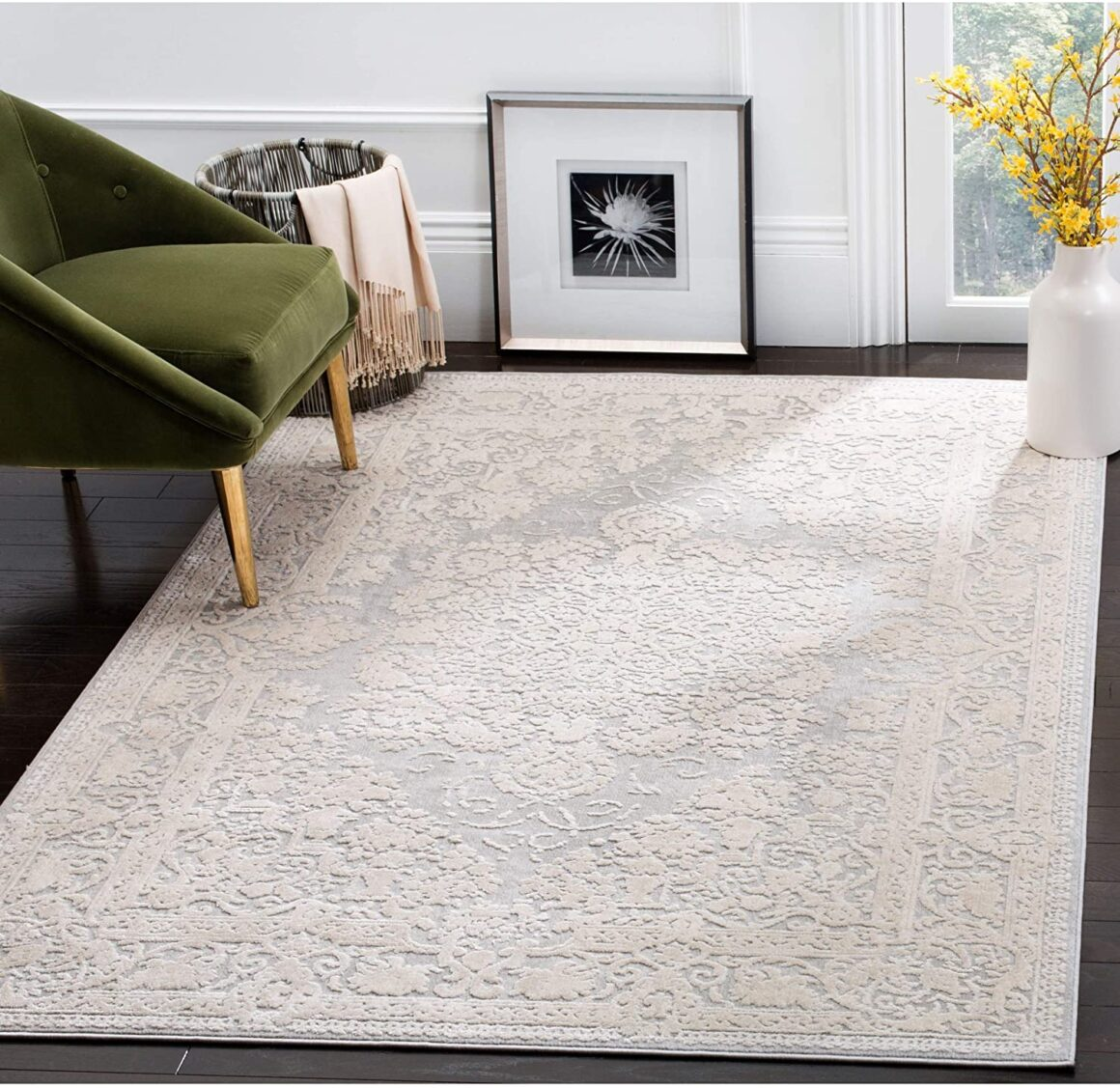 Safavieh Reflection Collection RFT664C Light Grey and Cream Area Rug
