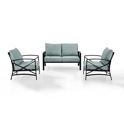 Crosley Kaplan 3 Piece Outdoor Seating Set with Mist Cushion