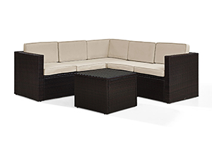 Crosley Palm Harbor 6 Piece Outdoor Wicker Seating Set with Sand Cushion in Brown