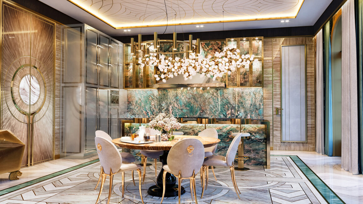 A Golden Gleam Luxury Kitchen by Mastermind designer, Elena Klylova