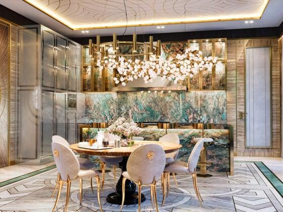 A Golden Gleam Luxury Kitchen by Mastermind designer, Elena Klylova