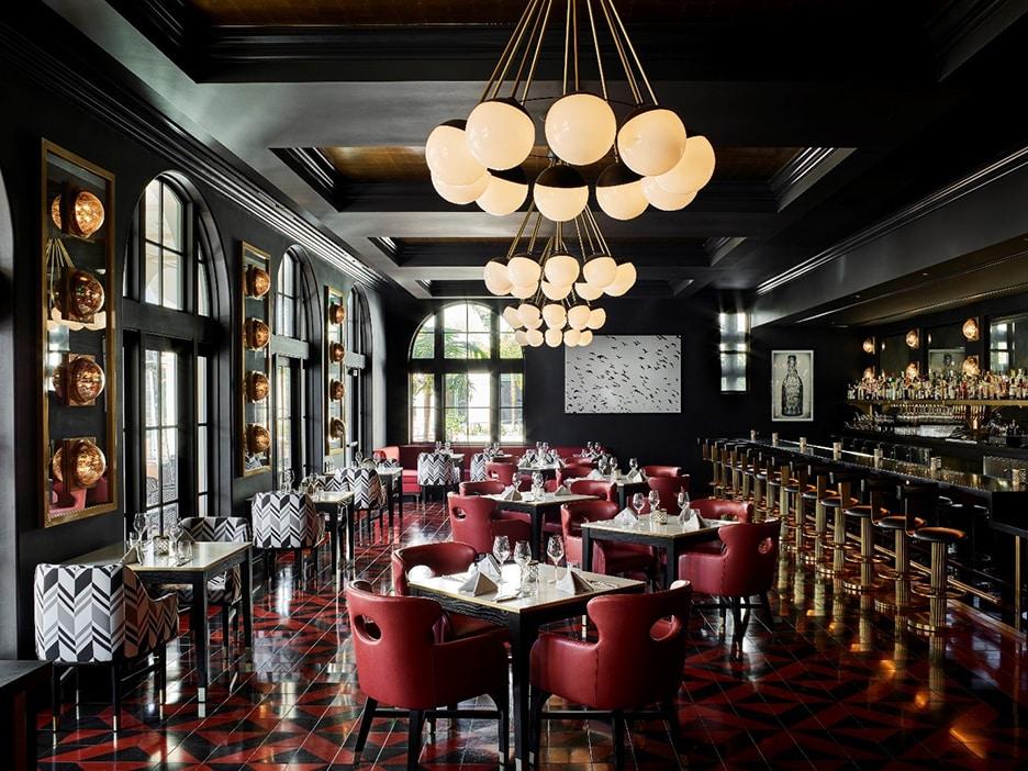 Blackbird Dining Room at Hotel California in Santa Barbara designed by Martyn Lawrence Bullard.