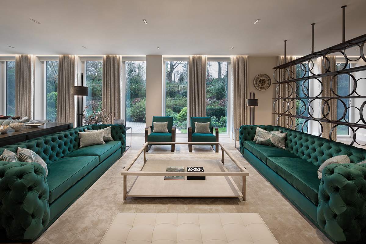 Artalenta living room green theme design