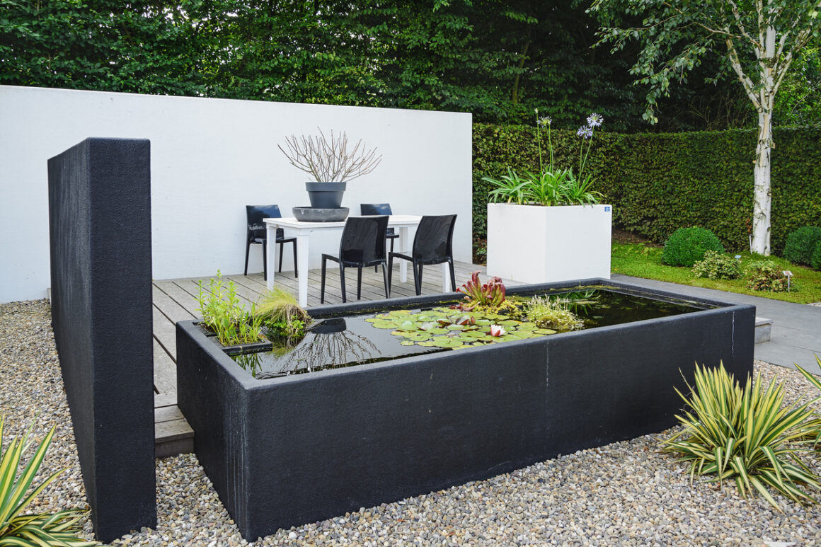 water Garden with modern garden furniture and trendy pond