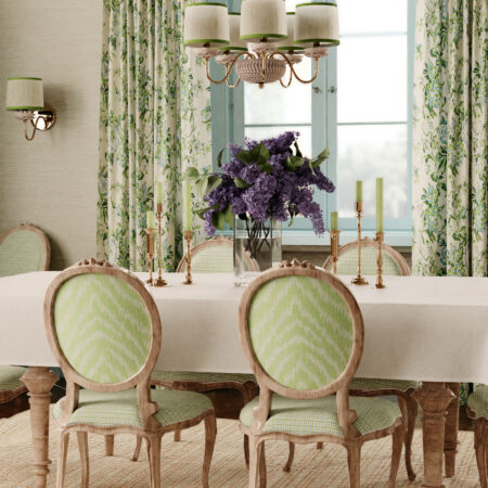 Dinning room showcasing Bassett McNab's fabrics from her signature collection